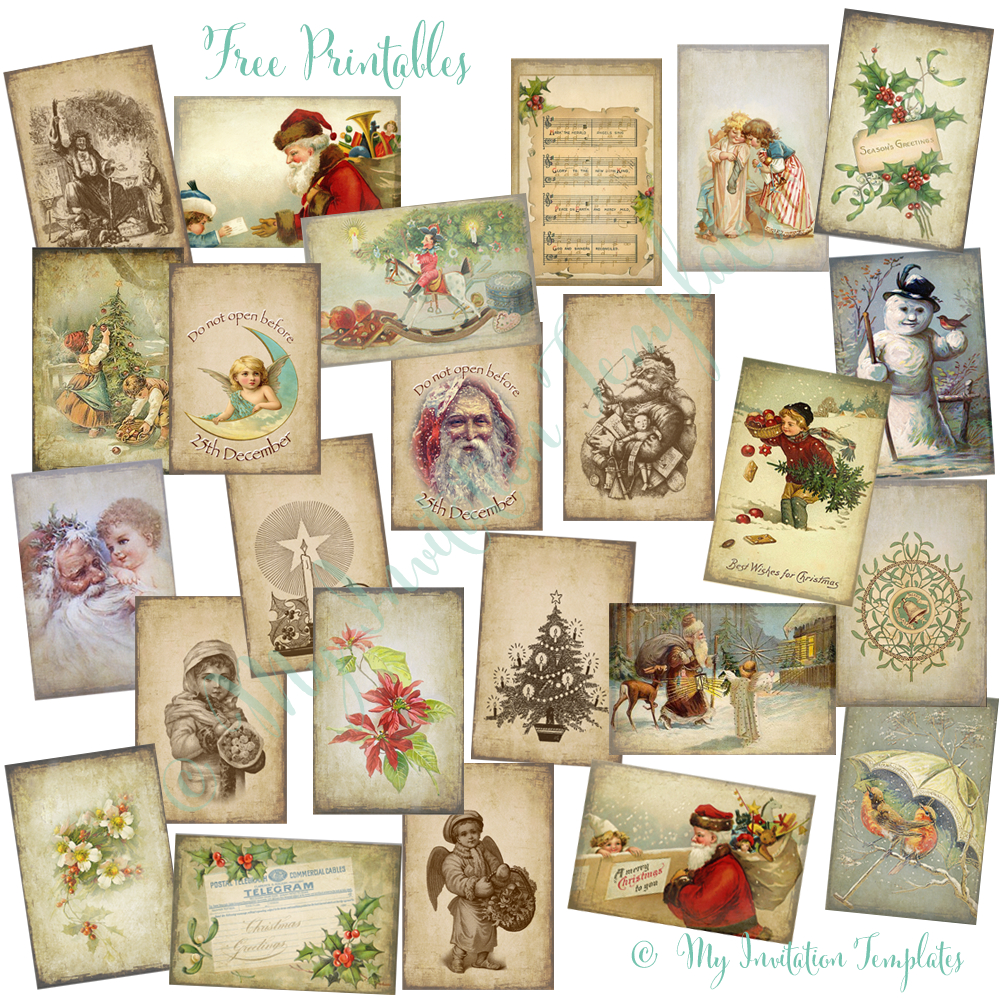 Free Printable Vintage Christmas Tags For Gifts – Festival Collections - Free Printable Vintage Christmas Tags For Gifts