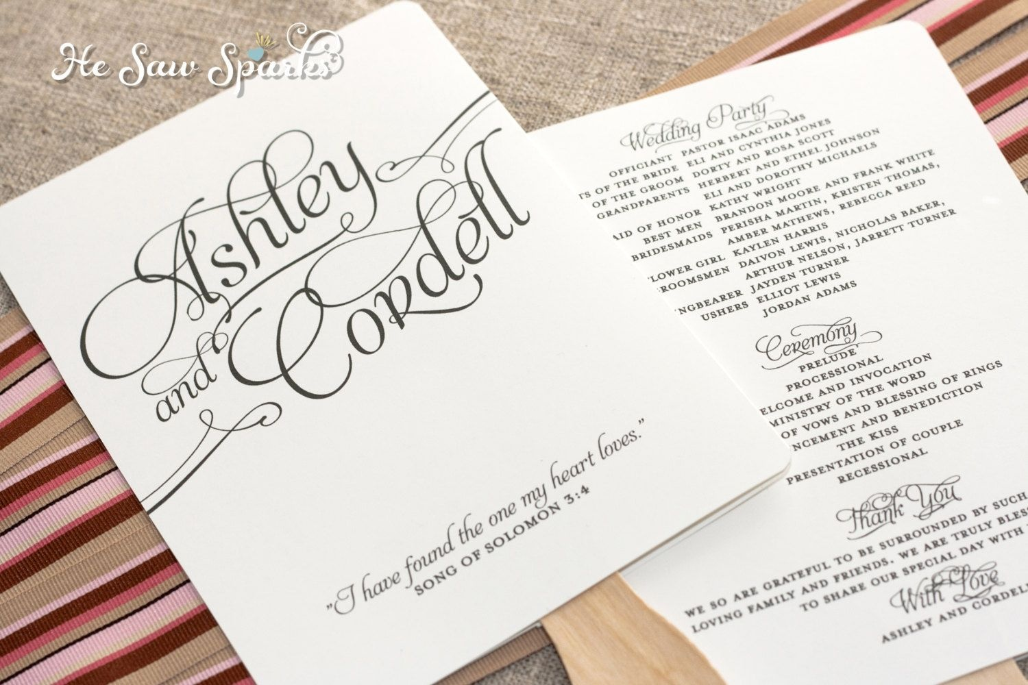 Free Printable Wedding Programs Templates | Request A Custom Order - Free Printable Wedding Fan Templates