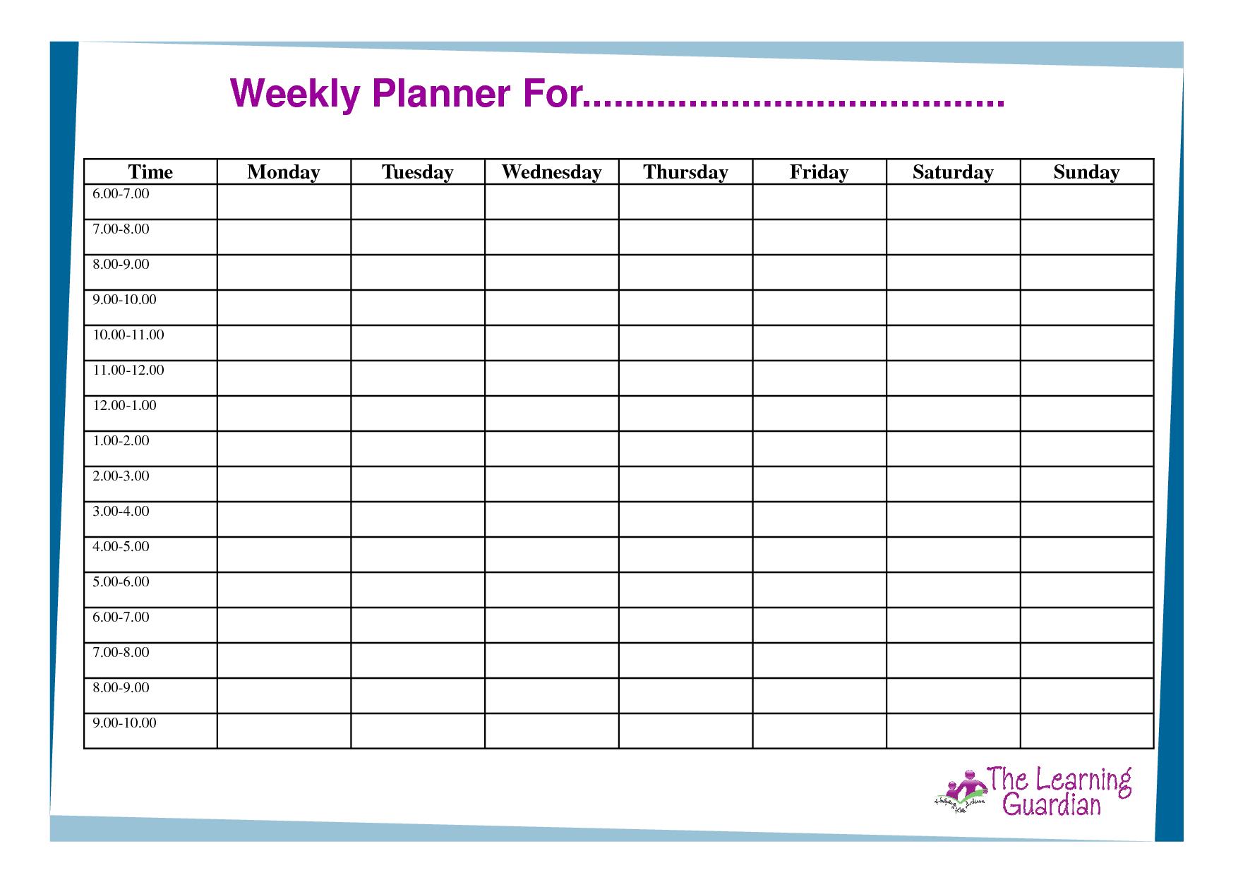 Free Printable Weekly Calendar Templates | Weekly Planner For Time - Free Printable Blank Weekly Schedule