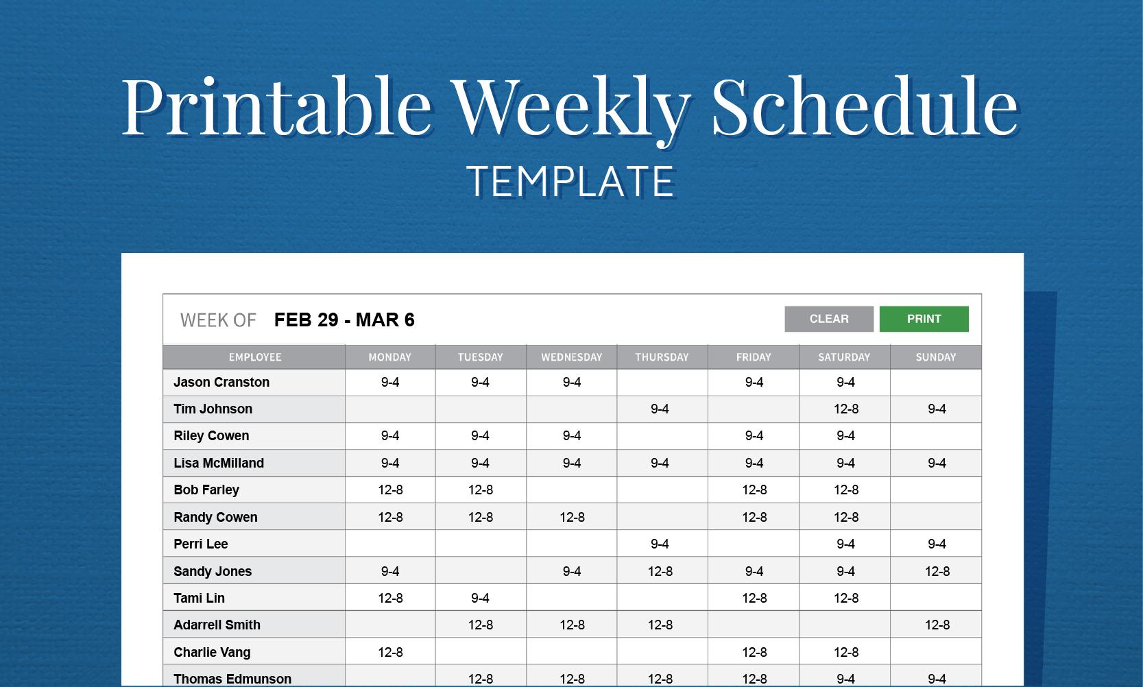 Free Printable Weekly Work Schedule Template For Employee Scheduling - Free Printable Blank Work Schedules