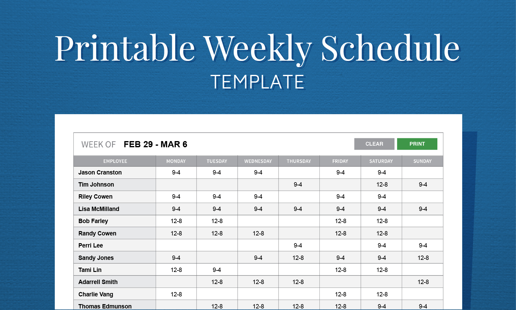 Free Printable Weekly Work Schedule Template For Employee Scheduling - Free Printable Work Schedule Maker
