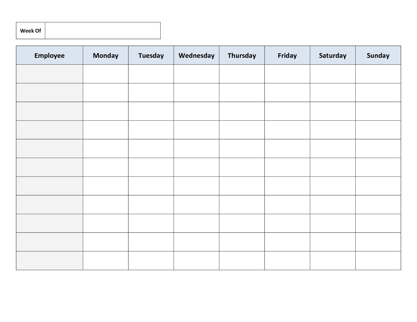Free Printable Work Schedules | Weekly Employee Work Schedule - Free Printable Work Schedule Maker
