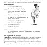 Free Printable Worksheet: When I Have A Conflict. A Quick Self Test   Free Printable Coping Skills Worksheets