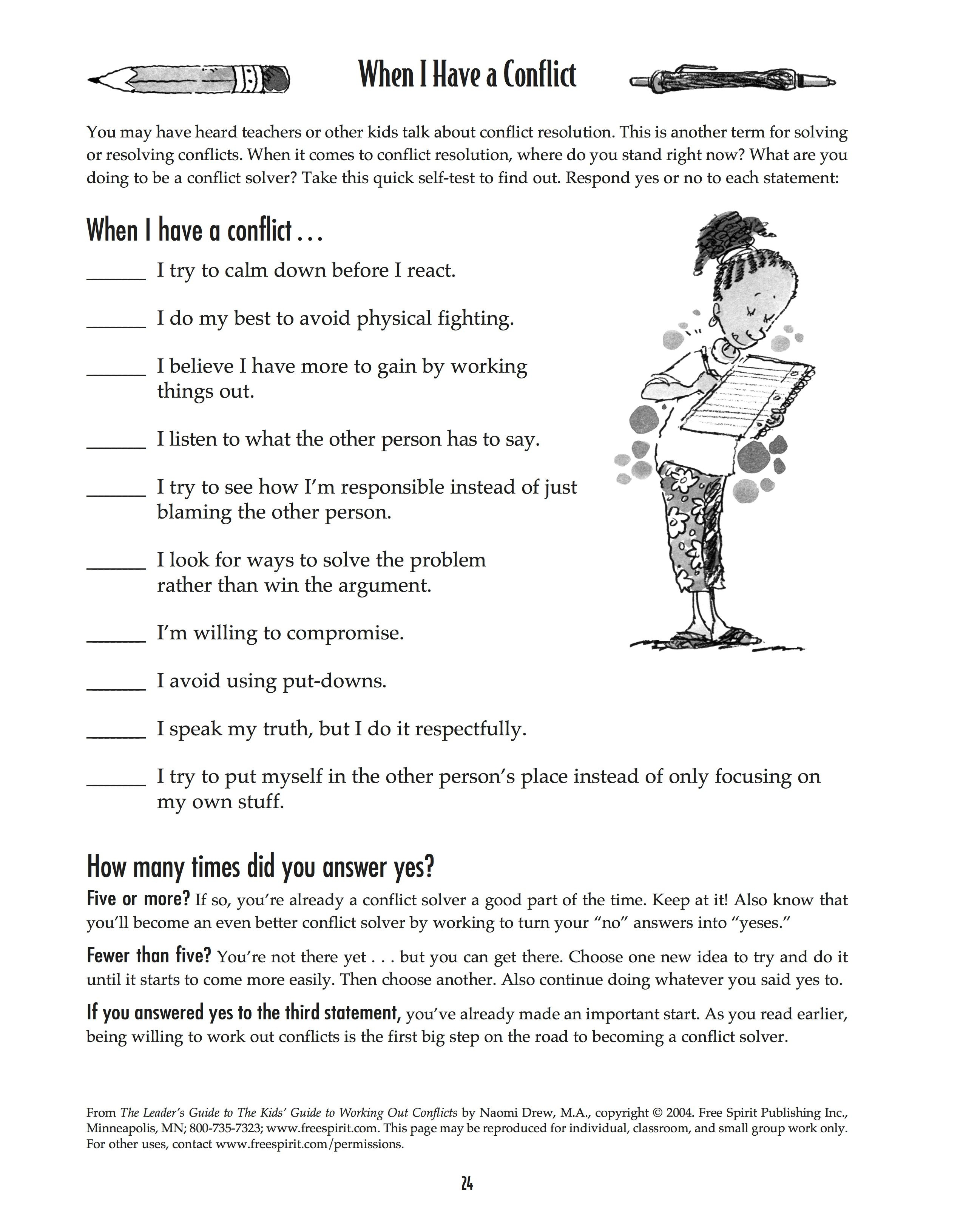 Free Printable Worksheet: When I Have A Conflict. A Quick Self-Test - Free Printable Coping Skills Worksheets
