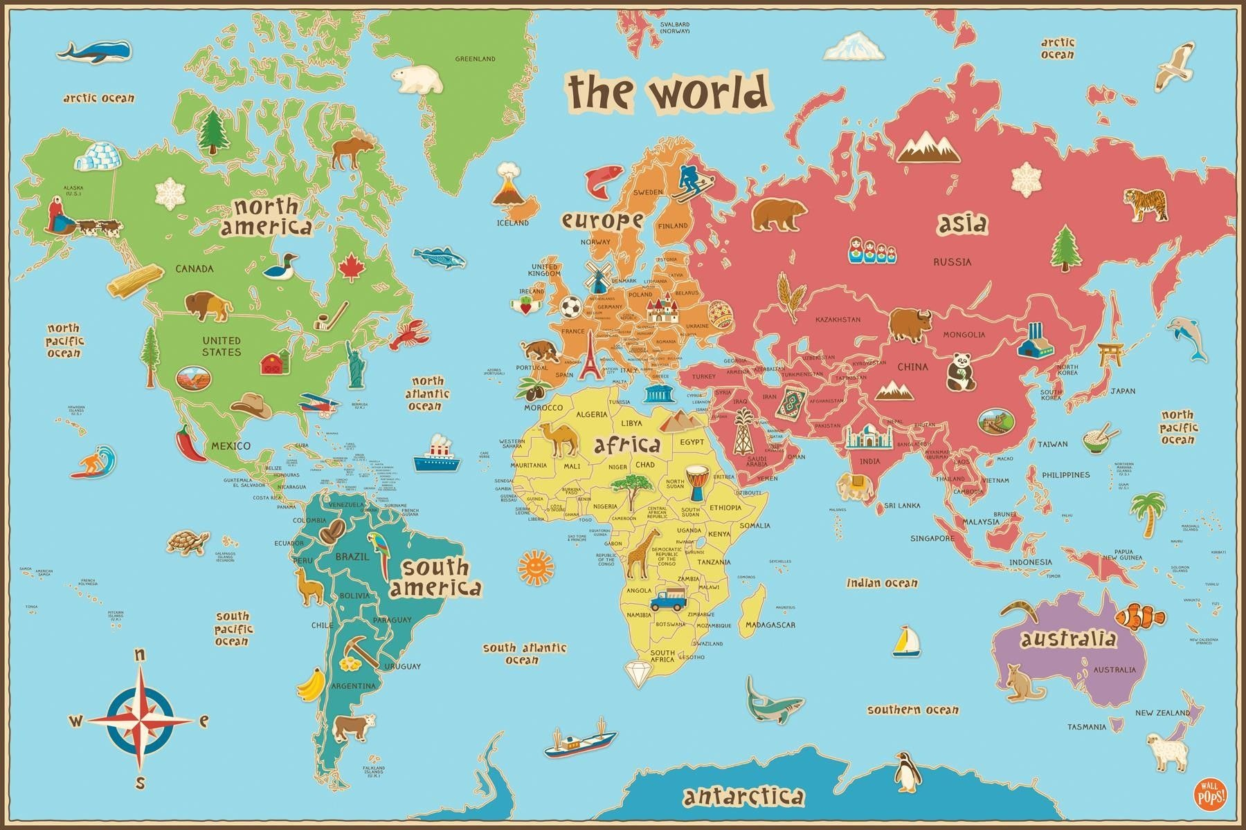 Free Printable World Map For Kids Maps And | Gary's Scattered Mind - Free Printable World Map Images