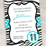 Free Printable Zebra Party Invitations | Printable Pink Turquoise   Free Printable Cheetah Birthday Invitations