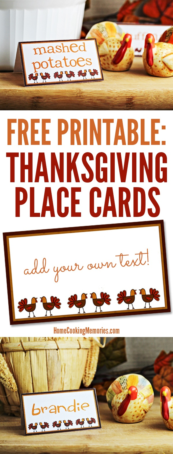 Free Printables: Thanksgiving Place Cards - Home Cooking Memories - Free Printable Thanksgiving Place Cards