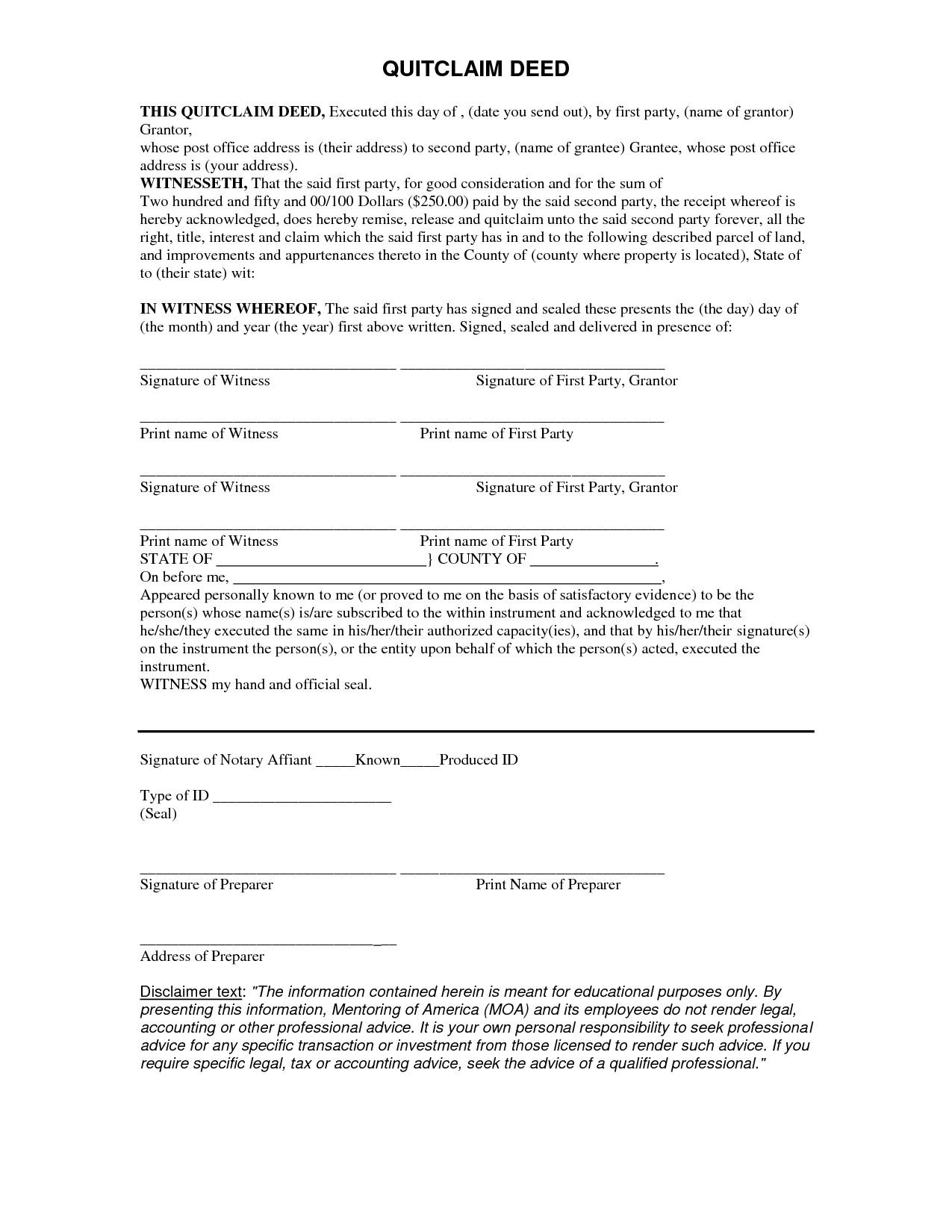 Free Quit Claim Deed Form - Quit Form | Real State | Legal Forms - Free Printable Quit Claim Deed Form