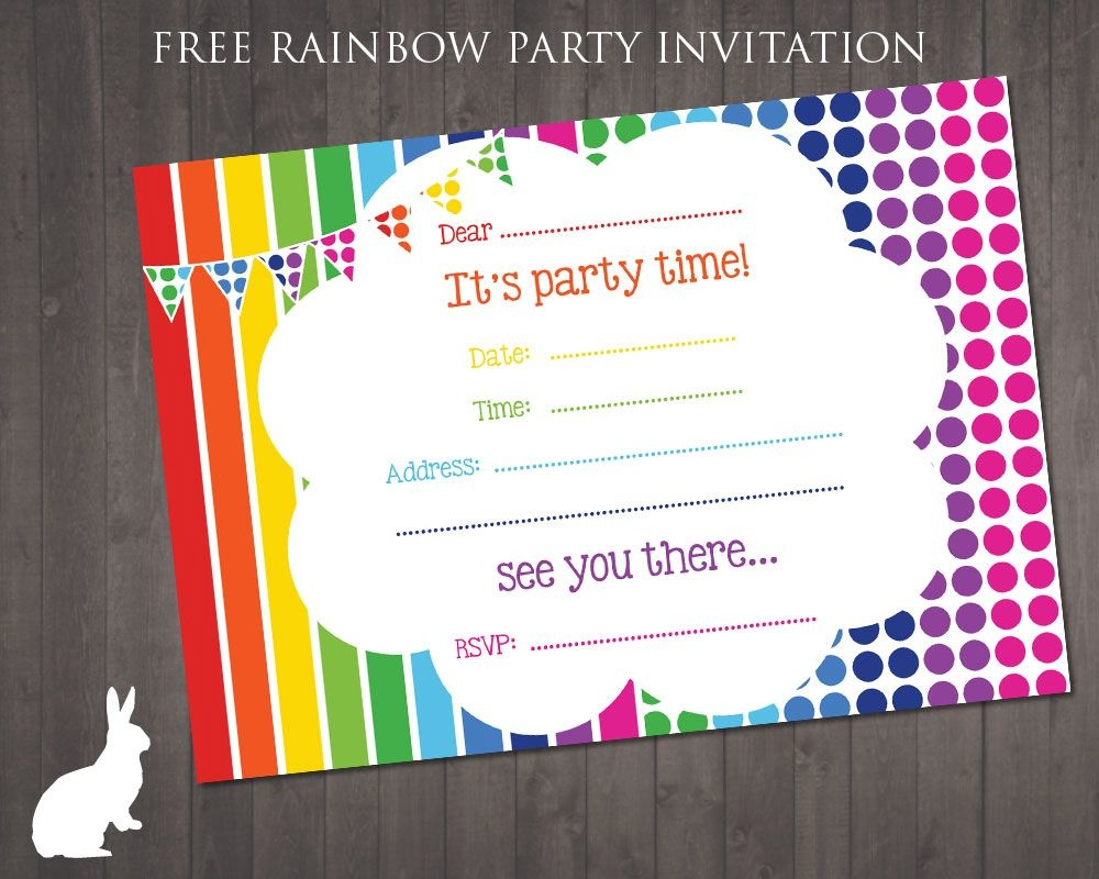Free Rainbow Party Invitation | Ruby And The Rabbit | Rainbow Party - Happy Birthday Invitations Free Printable