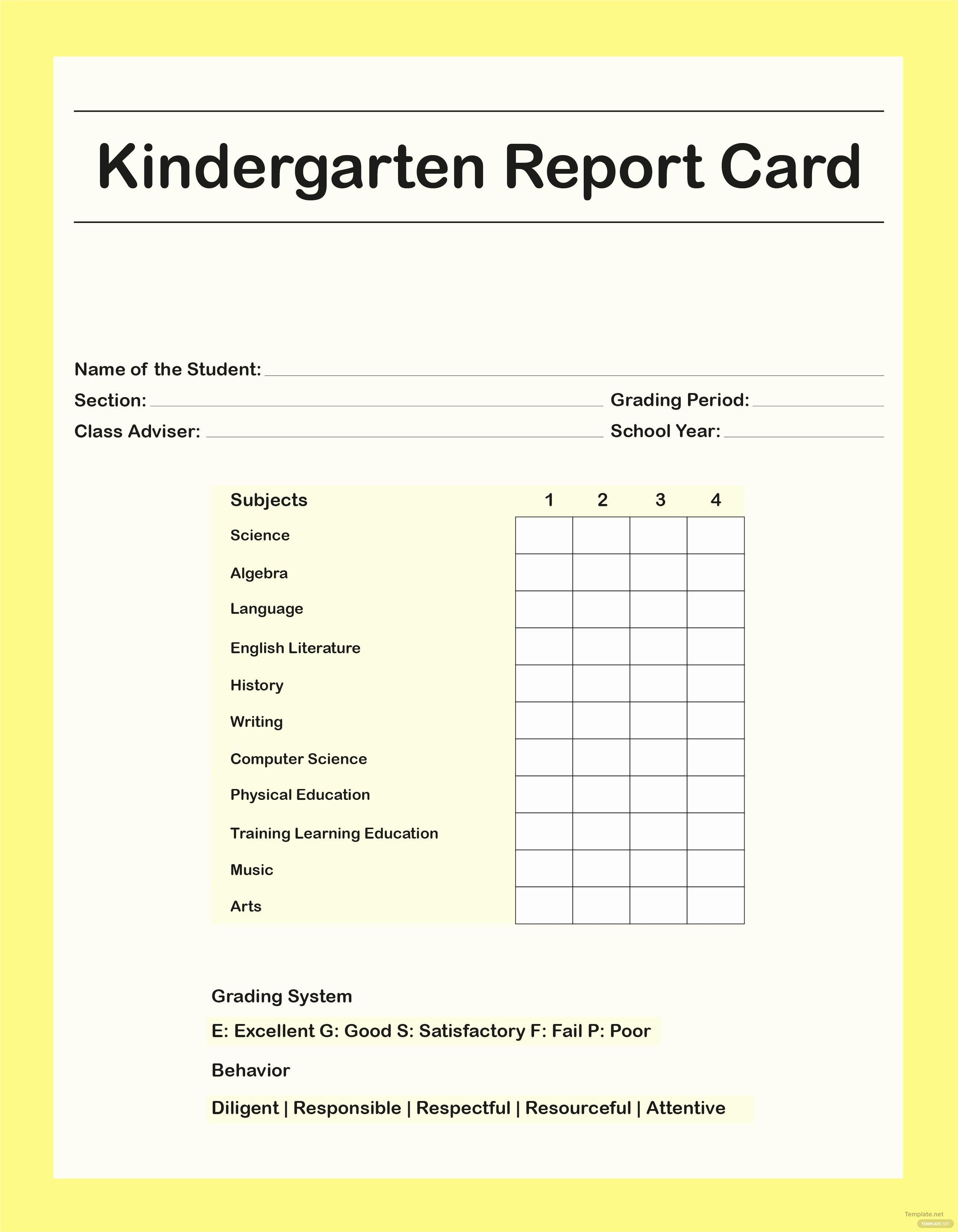 Free Report Card Template Blank Kindergarten Grooming | Meetpaulryan - Free Printable Kindergarten Report Cards