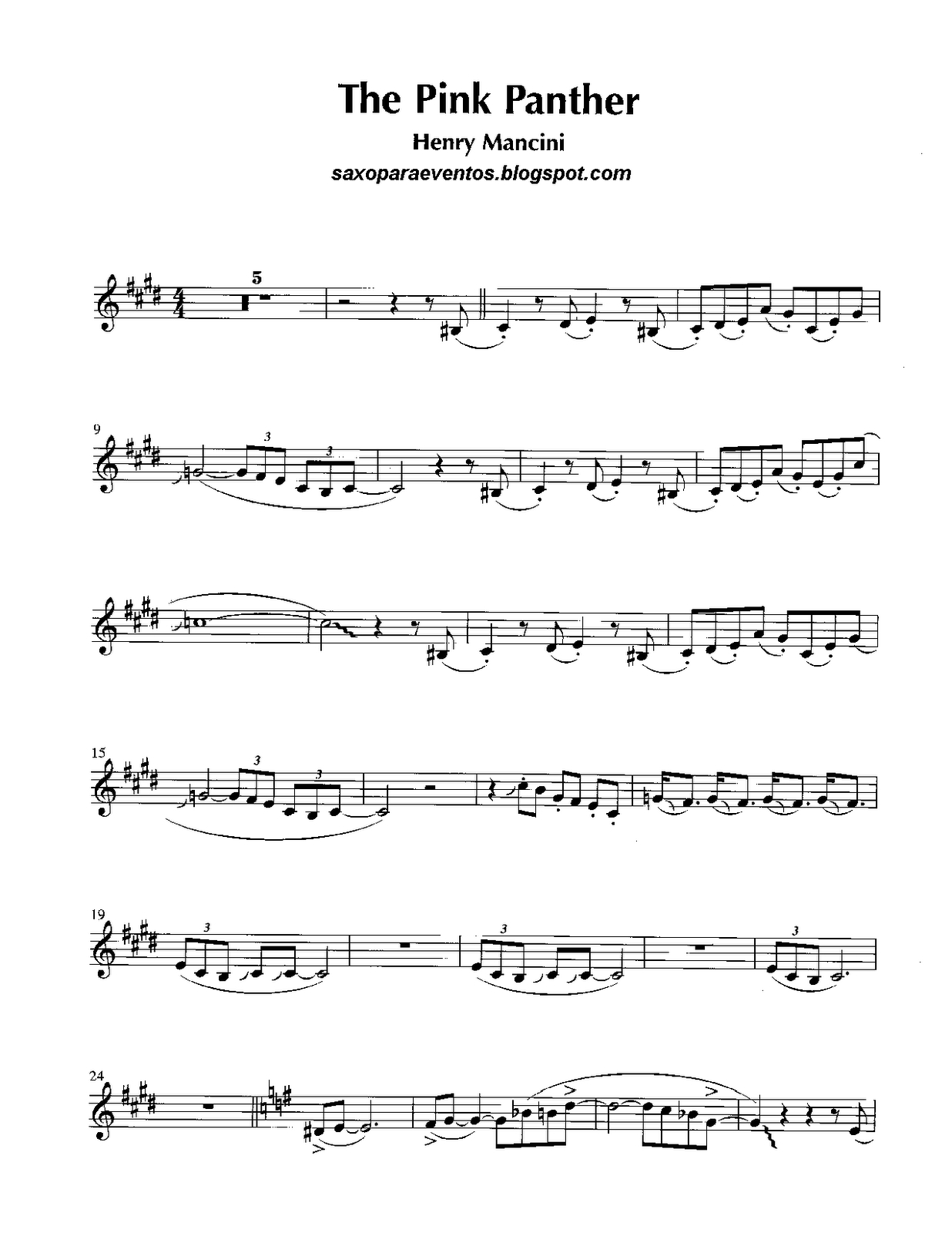 Free Sheet Music For Sax: Pink Panther - Henry Mancini Score And - Free Printable Alto Saxophone Sheet Music Pink Panther