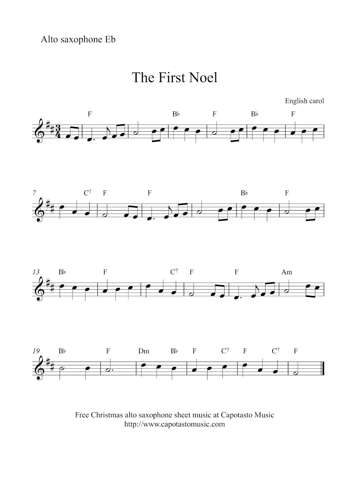 Free Sheet Music Scores: Alto Saxophone Christmas   Xmas Music - Free Printable Sheet Music For Trumpet