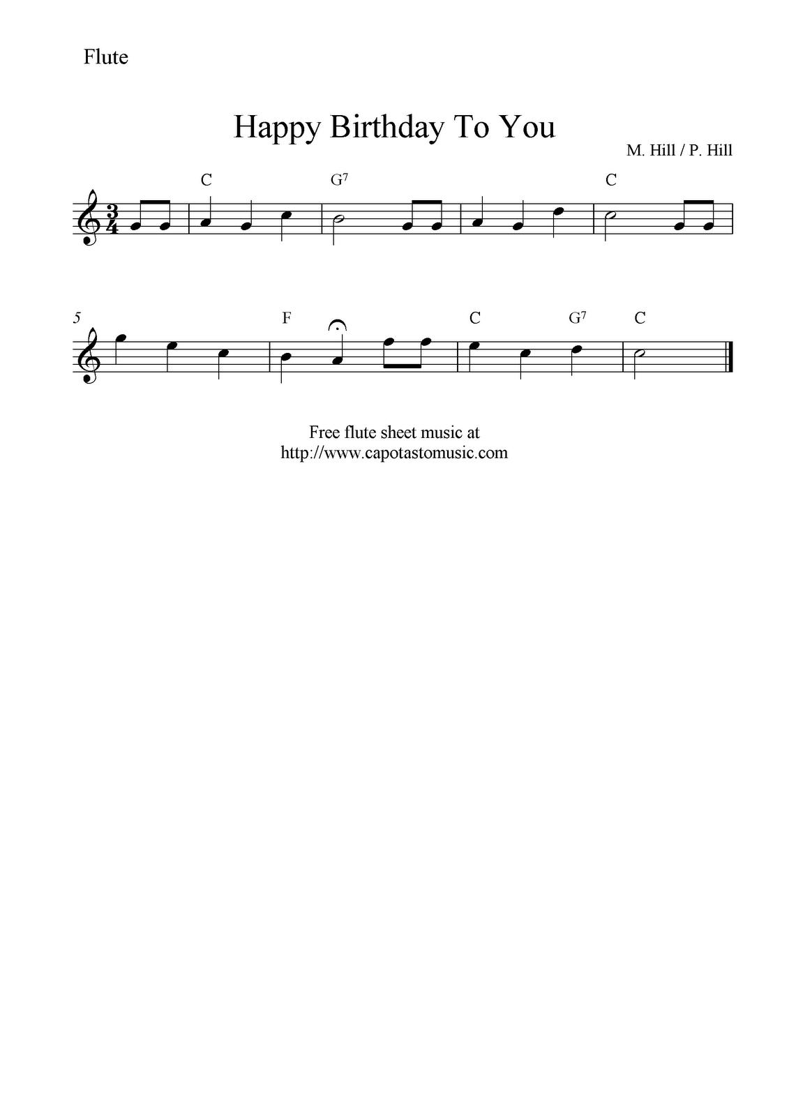 Free Sheet Music Scores: Happy Birthday To You, Free Flute Sheet - Free Printable Flute Sheet Music