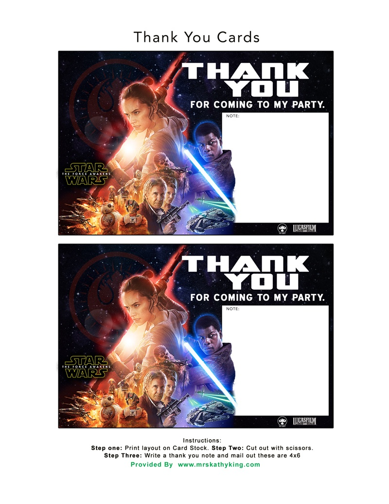 Free Star Wars: The Force Awakens Invitation & Thank You Card - Star Wars Printable Cards Free