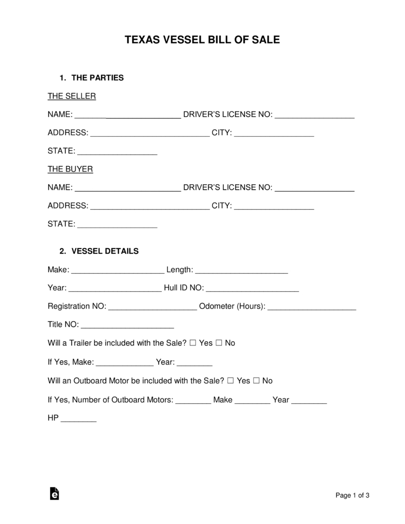 Free Texas Boat Bill Of Sale Form - Word | Pdf | Eforms – Free - Free Printable Texas Bill Of Sale Form