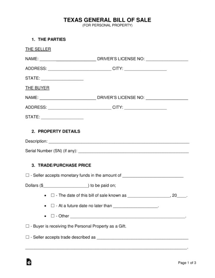 Free Printable Texas Bill Of Sale Form