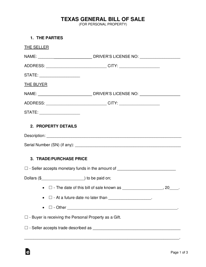 Free Texas General Bill Of Sale Form - Word | Pdf | Eforms – Free - Free Printable Texas Bill Of Sale Form