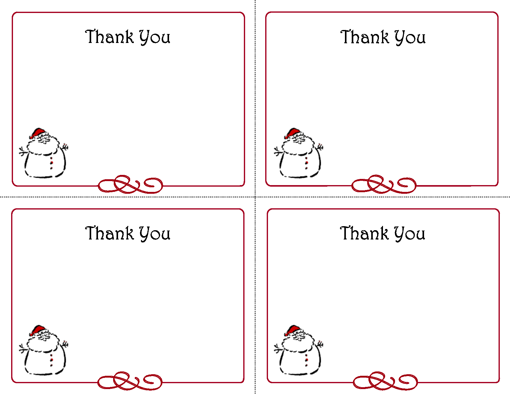 Free Thank You Cards Printable | Free Printable Holiday Gift Tags - Christmas Thank You Cards Printable Free