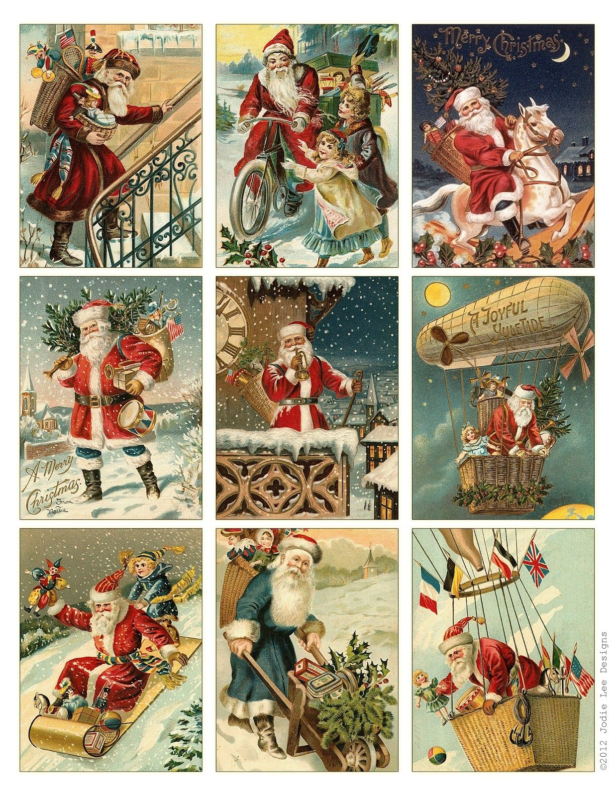 Free To Download! Printable Vintage Santa Tags Or Cards. | Free - Free Printable Vintage Christmas Tags For Gifts