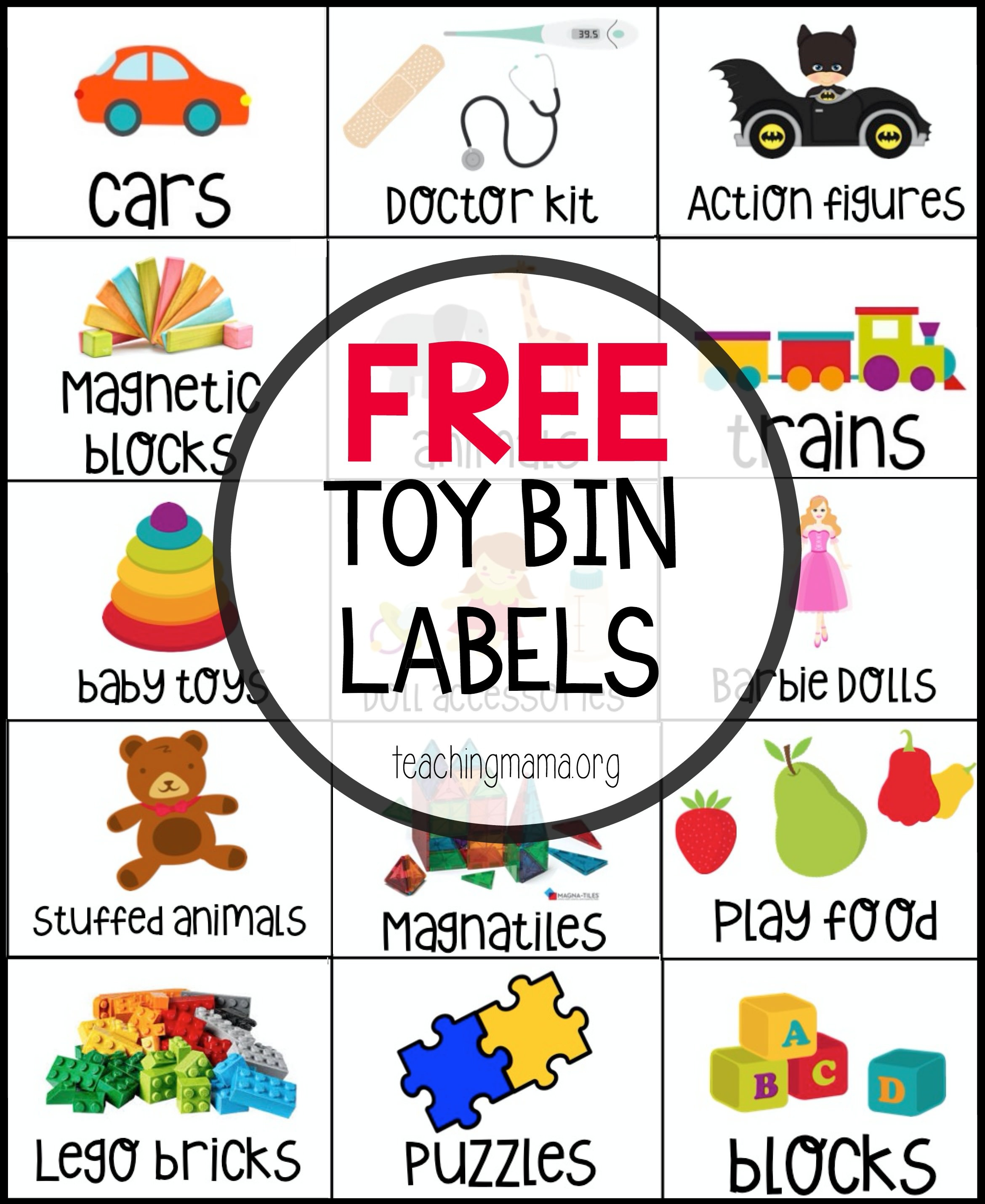 Free Toy Bin Labels - Free Printable Classroom Tray Labels