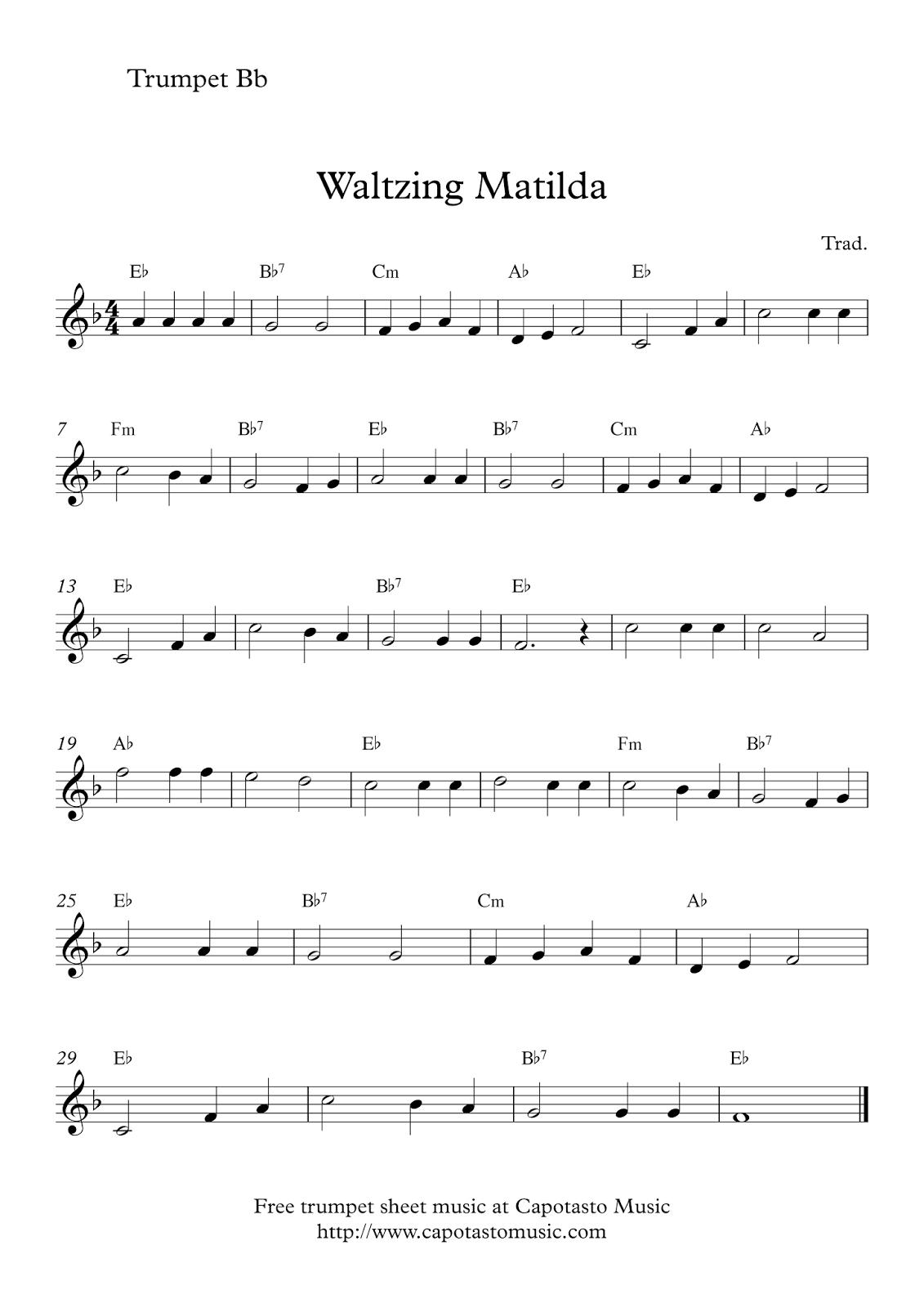 Free Trumpet Sheet Music   Waltzing Matilda - Free Printable Sheet Music For Trumpet