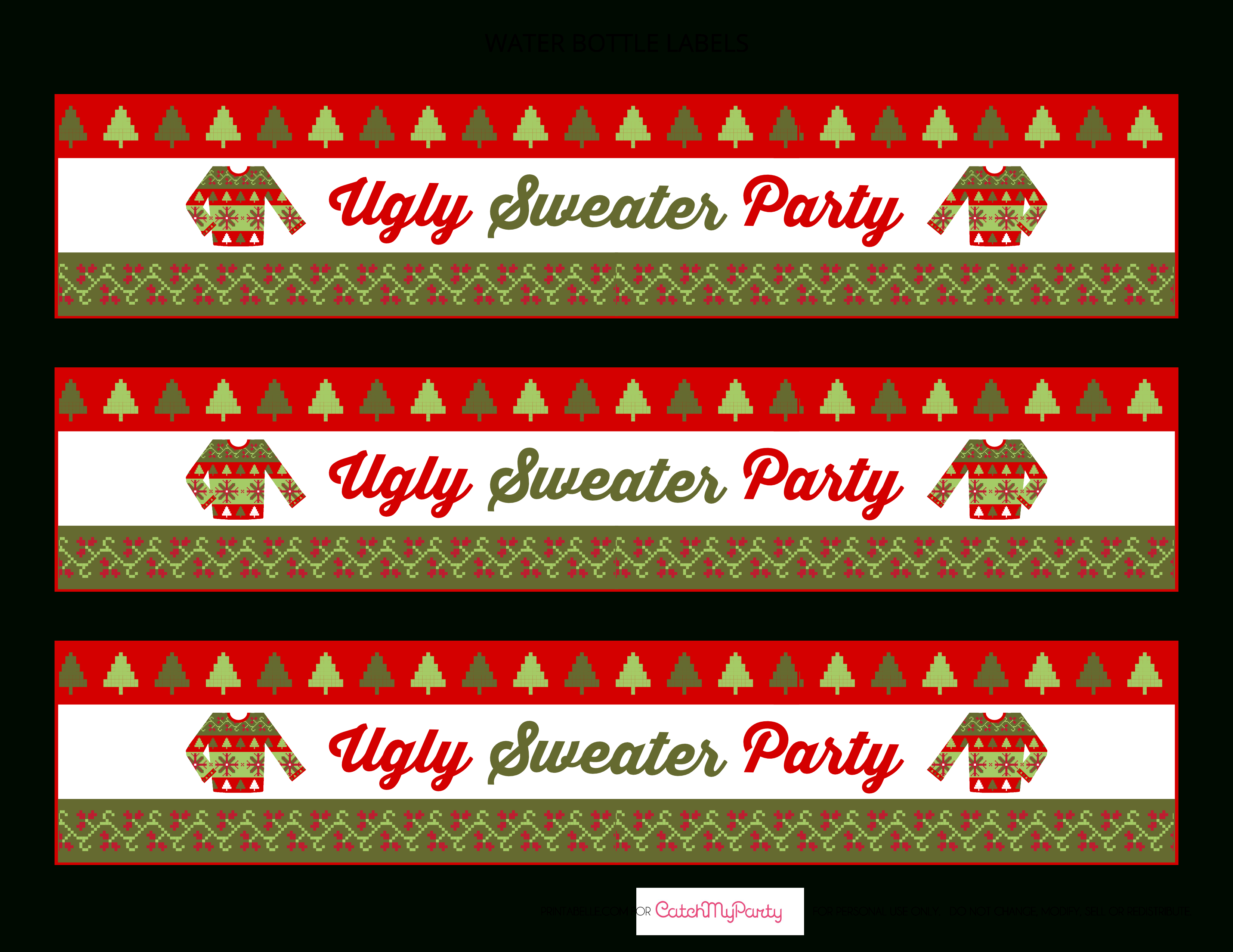 Free Ugly Sweater Party Printables   Catch My Party - Christmas Water Bottle Labels Free Printable