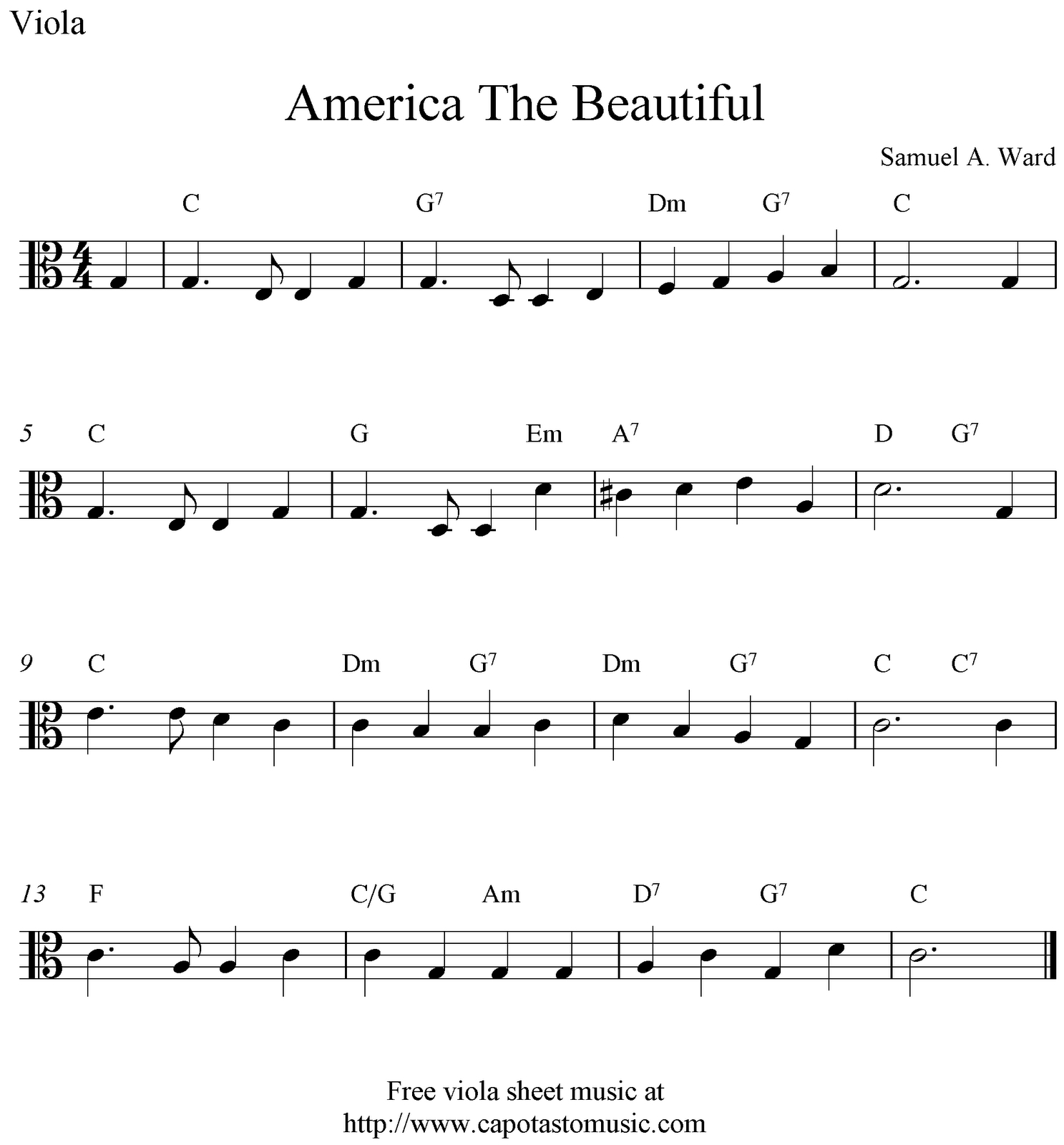 Free Viola Sheet Music, America The Beautiful | Viola Sheet Music In - Viola Sheet Music Free Printable