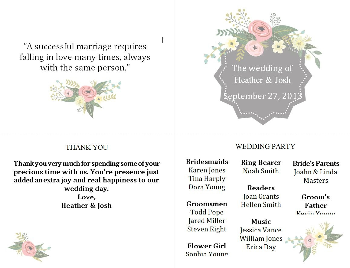 Free Wedding Program Templates You Can Customize - Free Printable Wedding Fan Templates