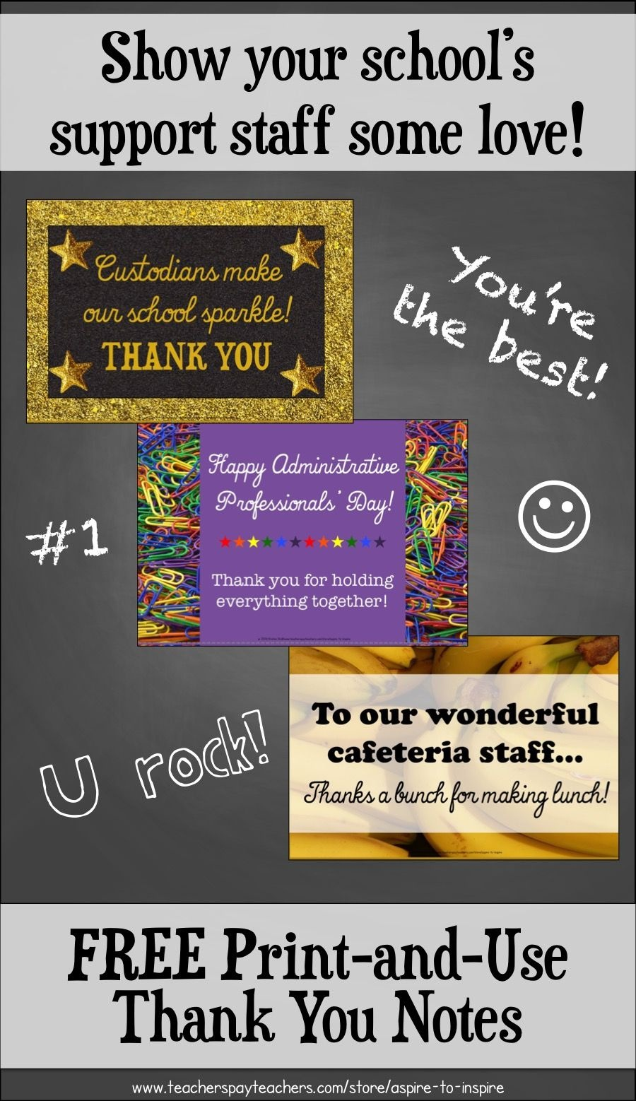 Freebie Support Staff Thank You Notes | Grades 3-6 | School - Administrative Professionals Cards Printable Free