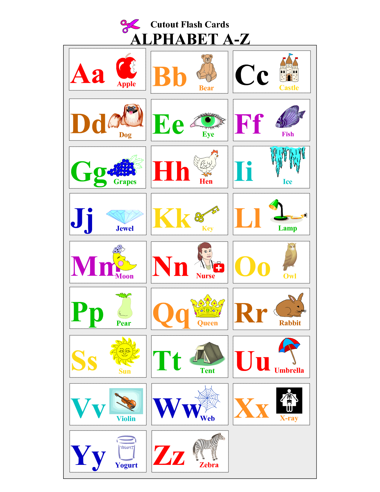 Free+Printable+Alphabet+Letters+Flash+Cards | English Act | Letter - Free Printable Alphabet Cards With Pictures