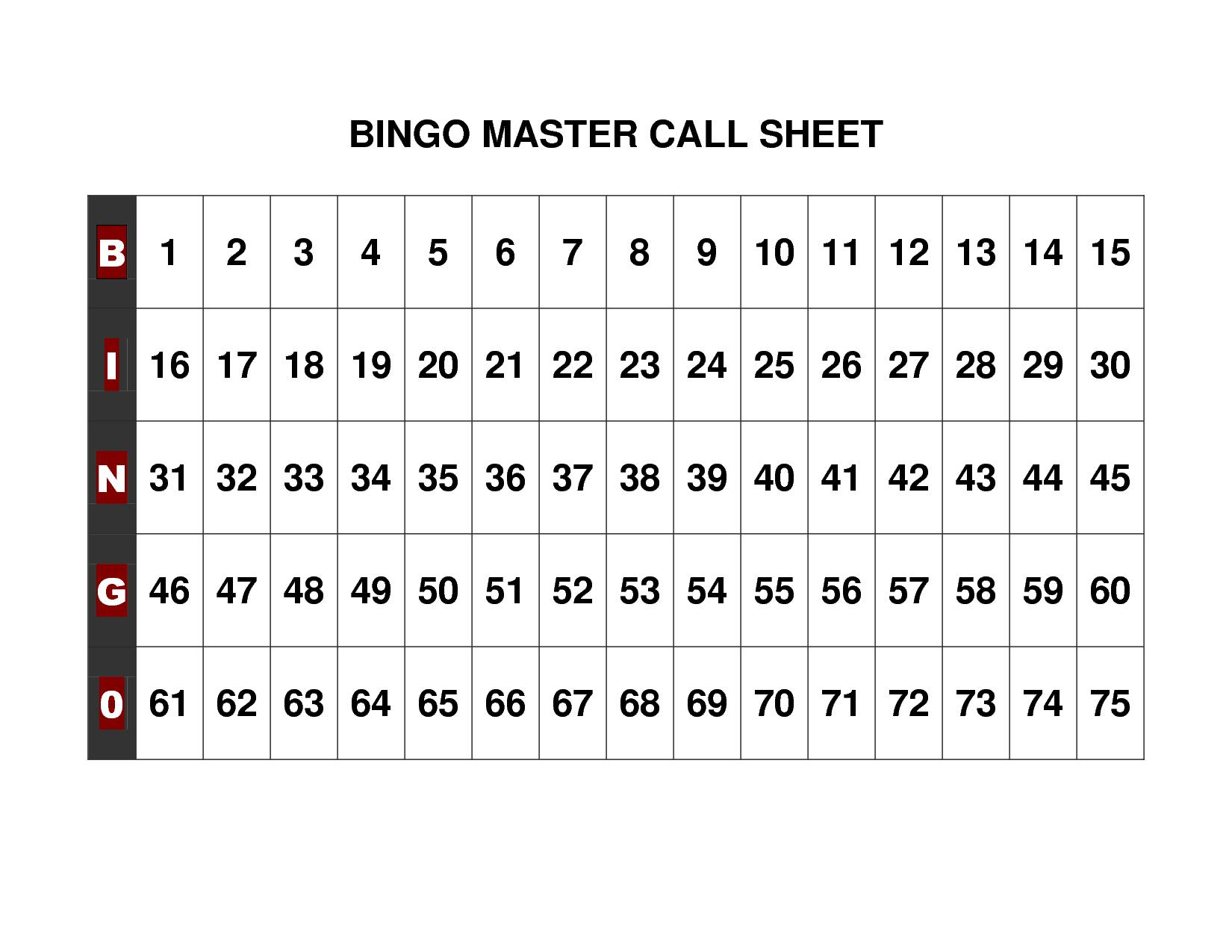 Free+Printable+Bingo+Call+Sheet | Bingo | Bingo Calls, Free - Free Printable Bingo Cards 1 100