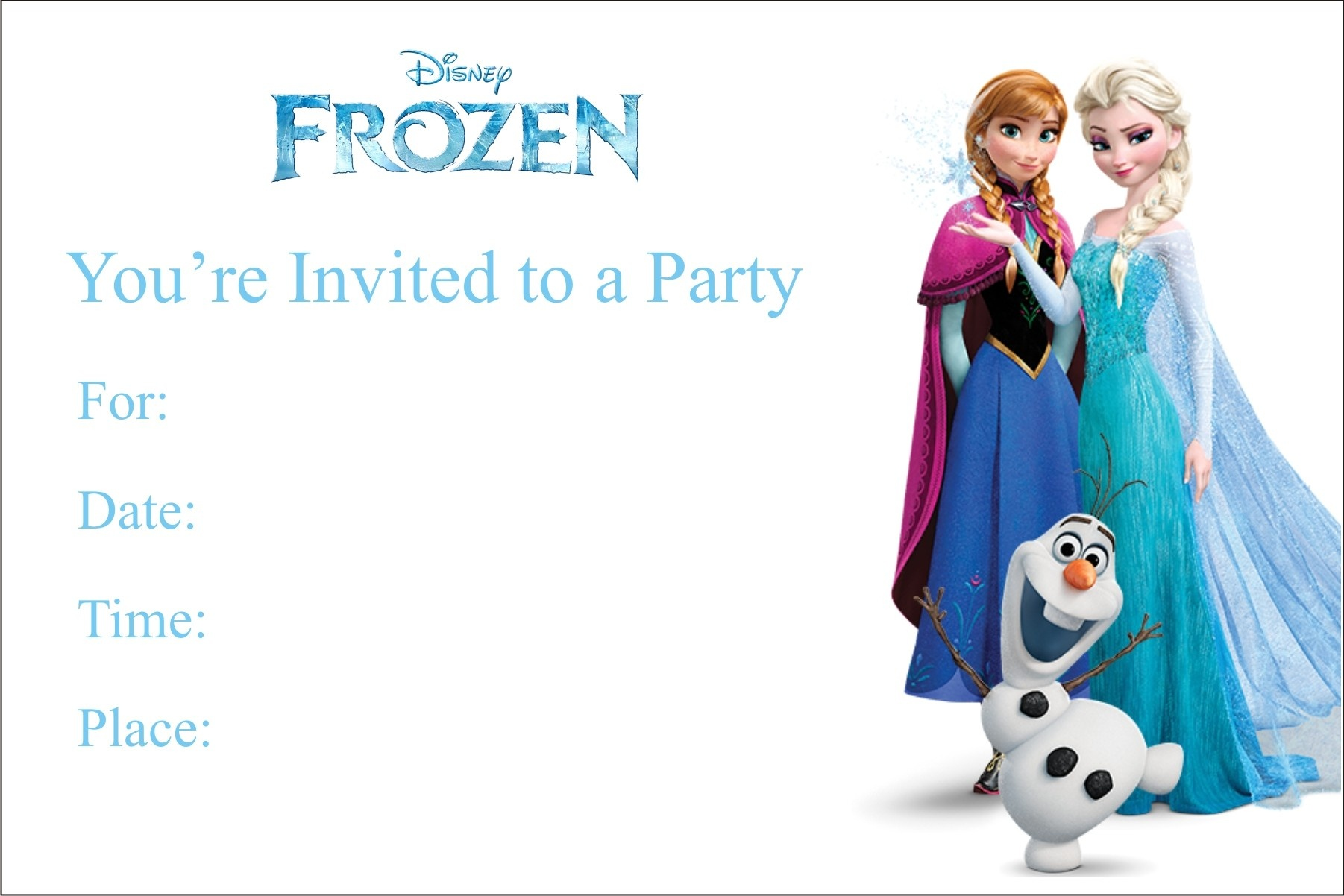 Frozen Free Printable Birthday Party Invitation Personalized Party - Free Printable Personalized Birthday Invitation Cards
