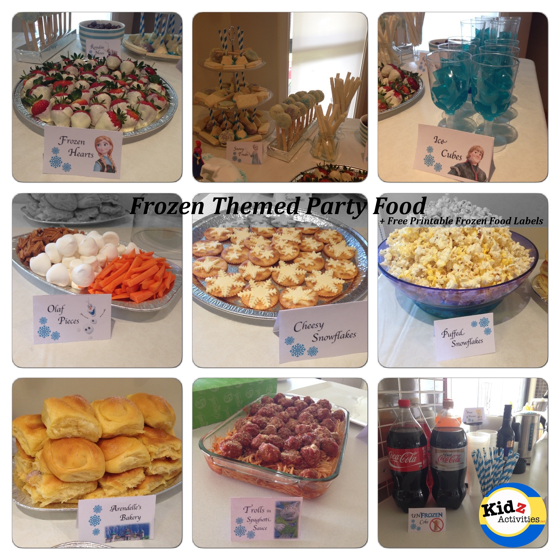 Frozen Themed Party Food - Free Printable Food Labels - Kidz Activities - Free Printable Cars Food Labels