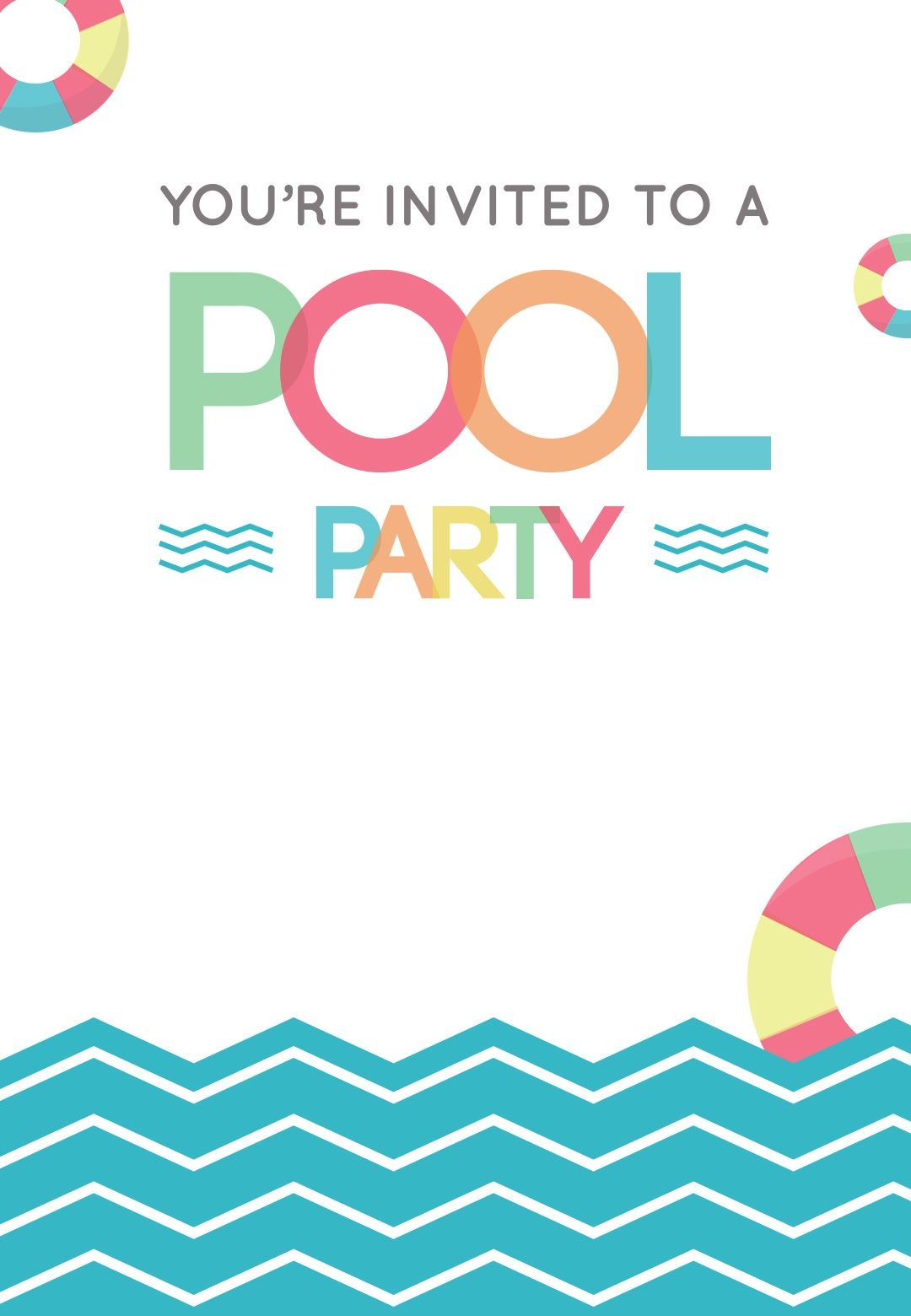 Fun Afternoon - Free Printable Summer Party Invitation Template - Free Printable Pool Party Birthday Invitations