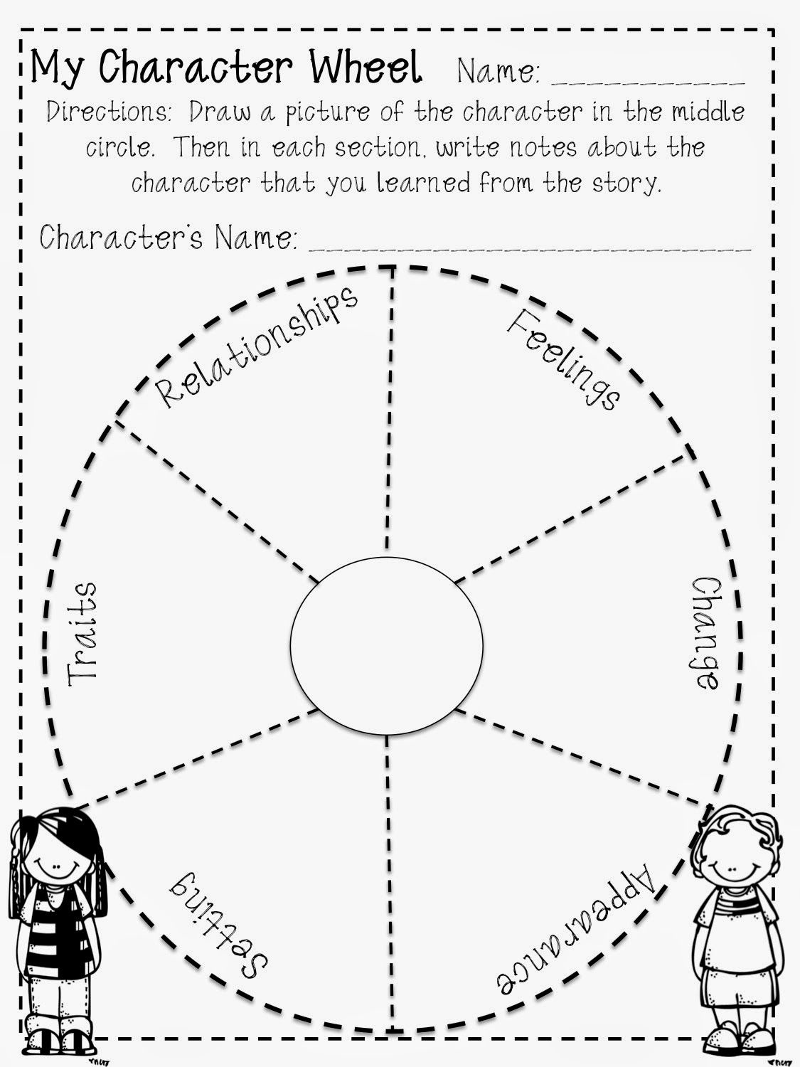 Fun Character Wheel Printable For Any Book! Free!   Teaching 4/5 - Free Printable Character Map