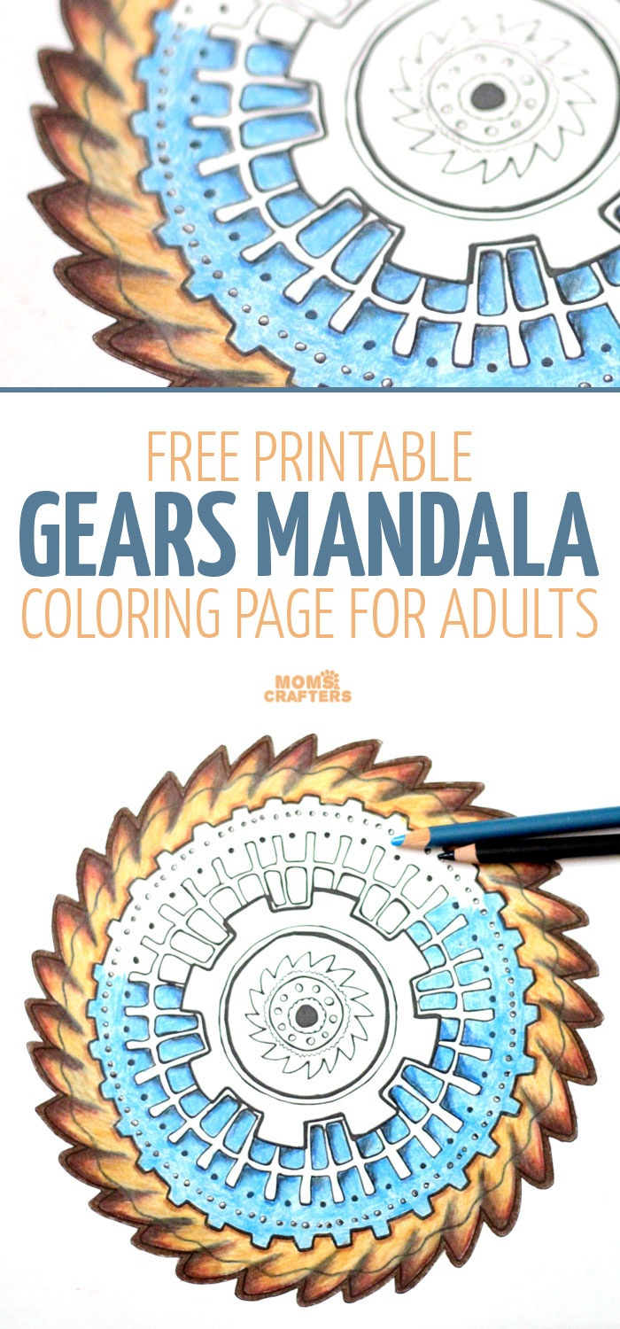 Gears Mandala Coloring Page - Free Printable – Moms And Crafters - Free Printable Gears