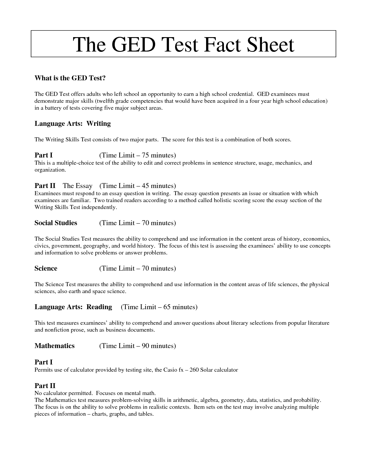 Ged Practice Test Score Chart - Best Picture Of Chart Anyimage - Free Printable Ged Science Worksheets