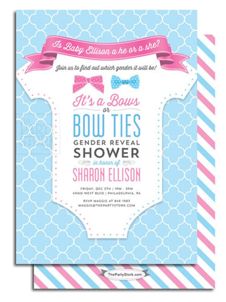 Gender Reveal Party Invitation Printable Bows Or Bowties Theme   Etsy - Free Stork Party Invitations Printable