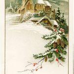 German Christmas Postcard, Vintage Christmas Clip Art, Snowy Winter   Free Printable German Christmas Cards