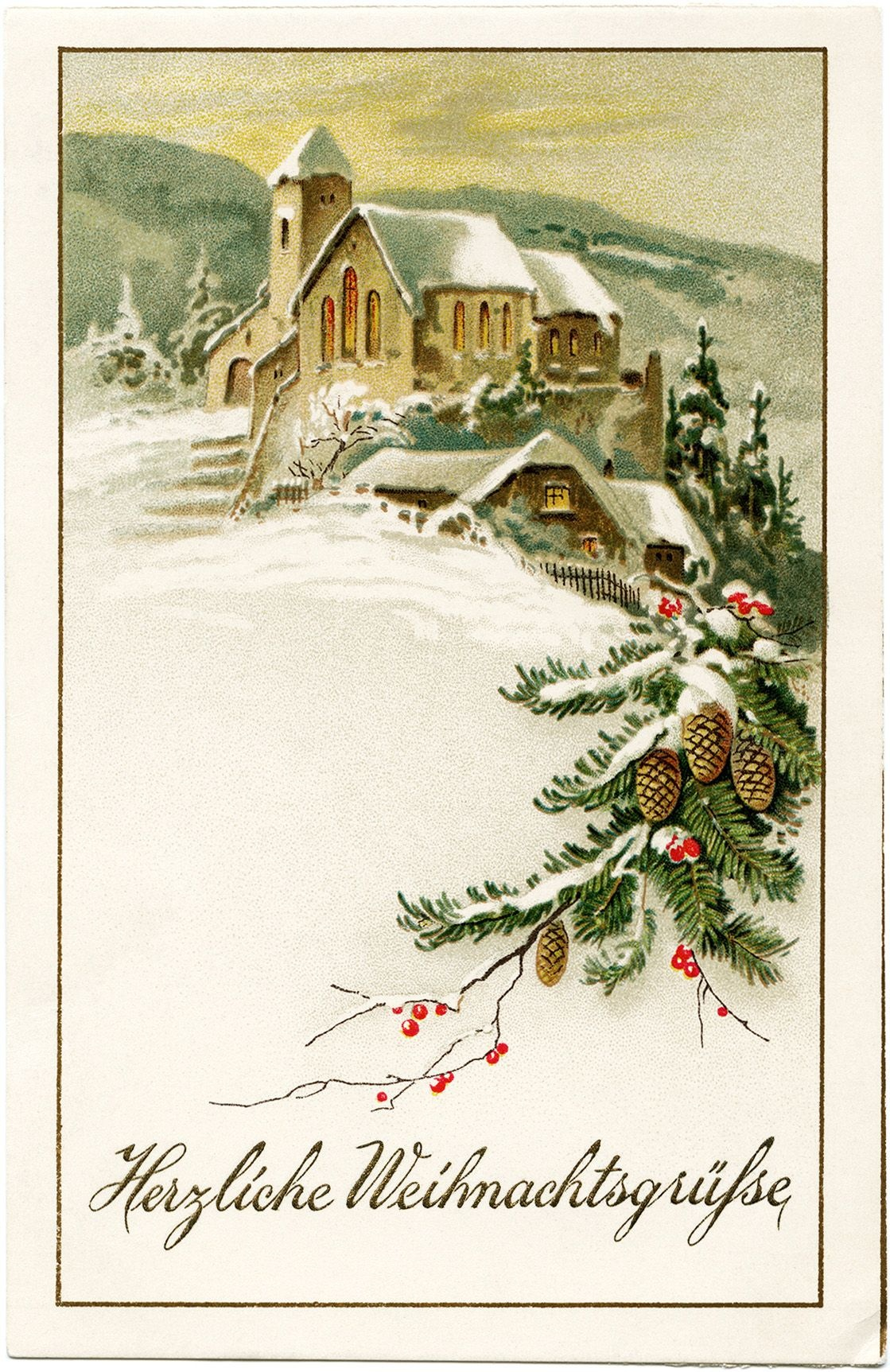 German Christmas Postcard, Vintage Christmas Clip Art, Snowy Winter - Free Printable German Christmas Cards