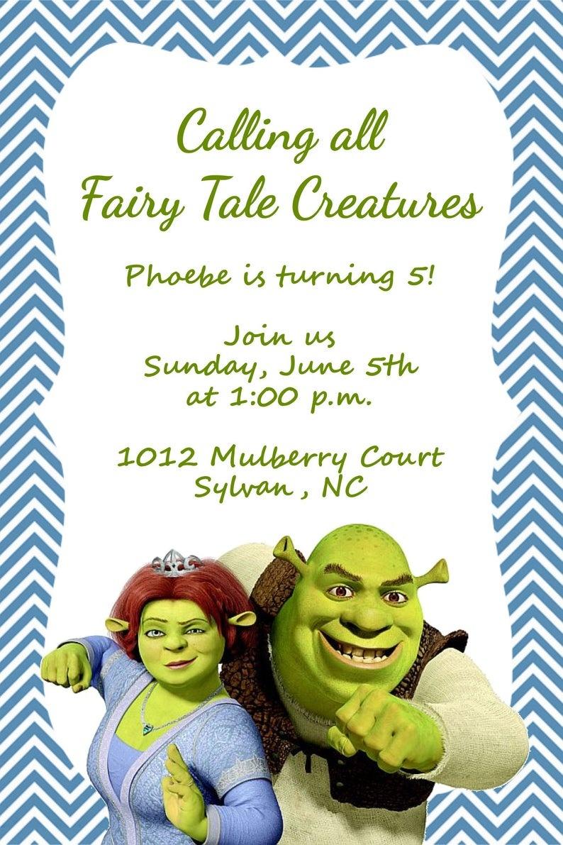 Girls Or Boys Shrek Printable Birthday Party Invitation   Etsy - Free Printable Shrek Birthday Invitations