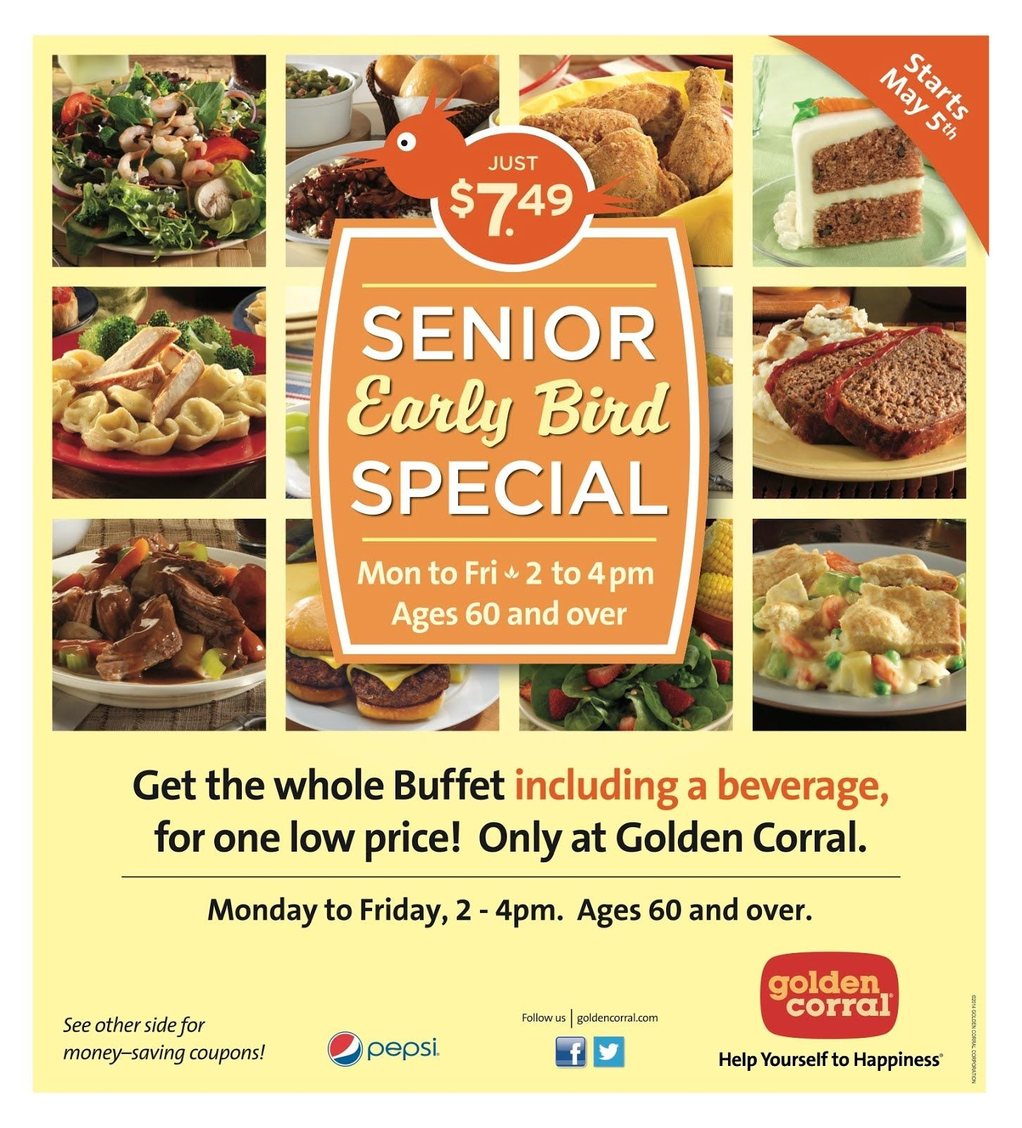 Golden Corral: Senior Early Bird Special, M-F 2-4Pm, 60+, For $7.49 - Free Las Vegas Buffet Coupons Printable