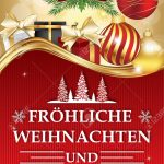 Golden Red Greeting Card For Winter Season With Text In German   Free Printable German Christmas Cards