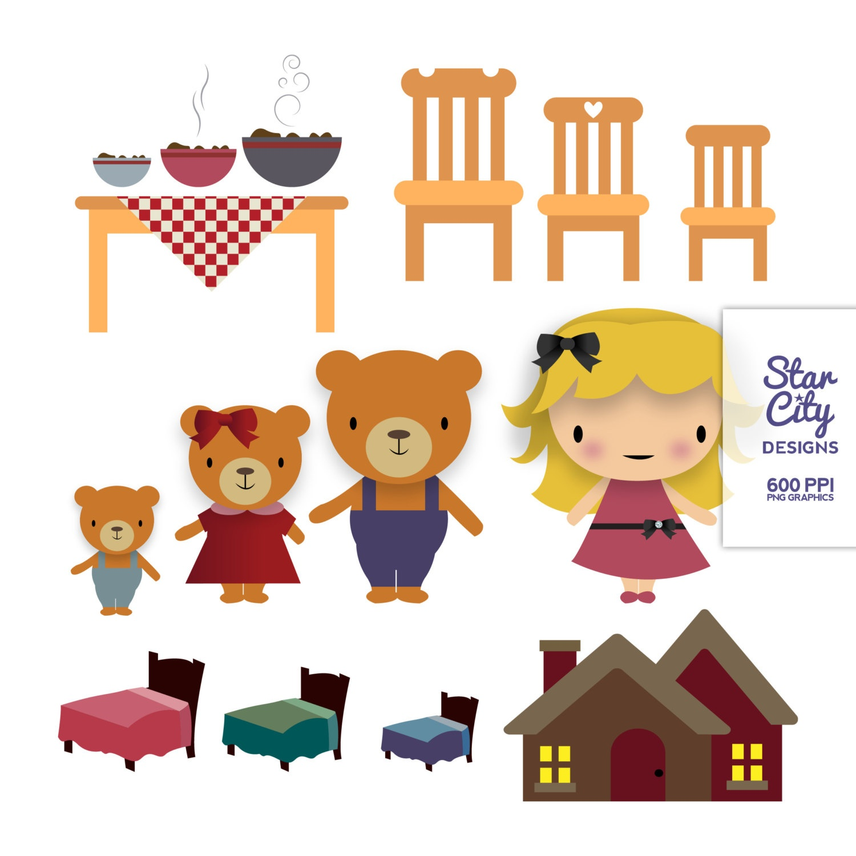 Goldilocks And The Three Bears Clipart Group With 59+ Items - Free Printable Goldilocks And The Three Bears Story