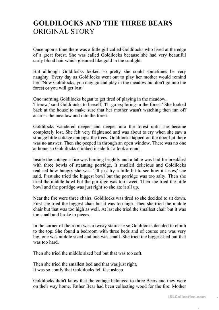 Goldilocks And The Three Bears (Unathorized Version)) Worksheet - Free Printable Goldilocks And The Three Bears Story