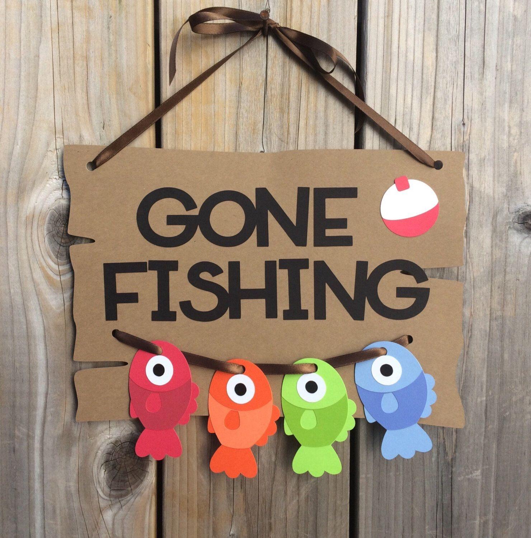 Gone Fishing Door Sign, Fish Door Sign, Gone Fishing Baby Shower - Free Printable Gone Fishing Sign