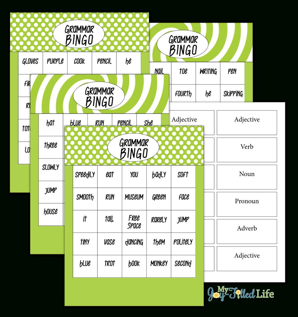 Grammar Bingo - Free Printable - My Joy-Filled Life - Free Printable Parts Of Speech Bingo