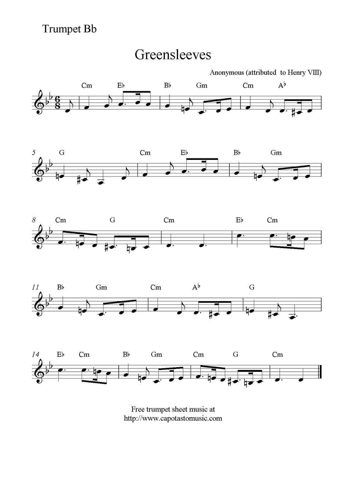 Greensleeves, Free Trumpet Sheet Music Notes - Free Printable Sheet Music For Trumpet