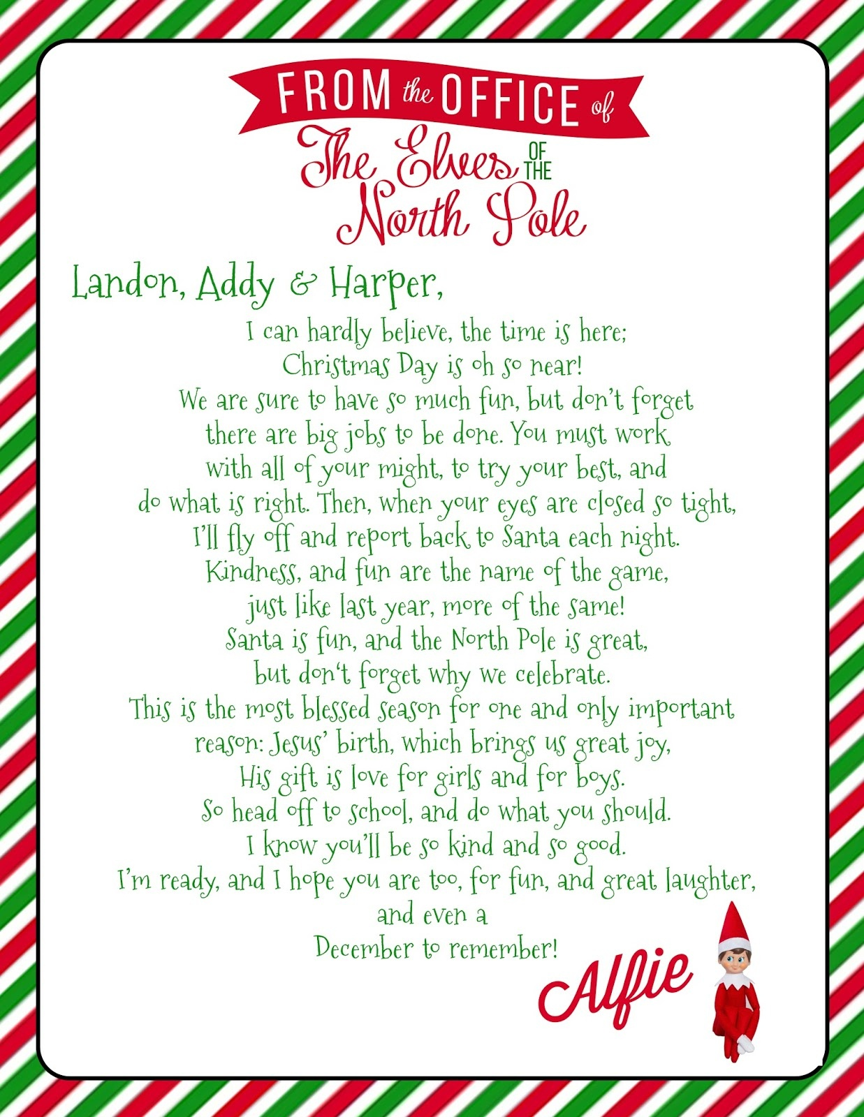 Growing Up Godbold: {Elf On The Shelf} Welcome Letter With Free - Free Printable Elf On The Shelf Letter