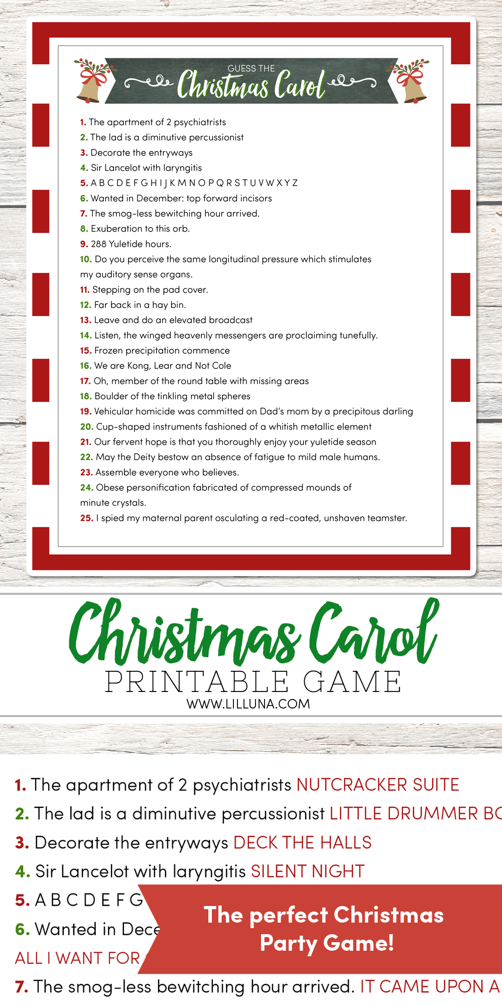Guess The Christmas Carol Game - Lil' Luna - Free Printable Christmas Song Picture Game